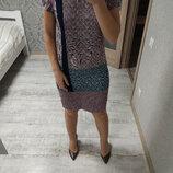 Большой выбор платьев - шикарное прямое платье миди длины в принт