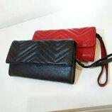 Женский кошелек красный черный большой гаманець жіночий червоний чорний