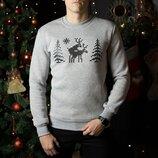 Свитшоты свитера кофты зимние мужские Losʹ Gray свитер с оленями
