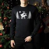 Свитшоты свитера кофты зимние мужские Losʹ Black свитер с оленями