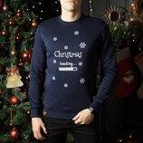 Свитшоты свитера кофты зимние мужские Christmas Navy новогодние рождественские