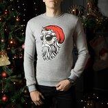 Свитшоты свитера кофты зимние мужские Santa boroda Gray новогодние Дед Мороз