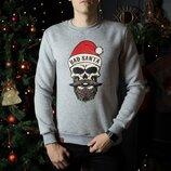 Свитшоты свитера кофты зимние мужские Bad Santa Gray новогодние Дед Мороз