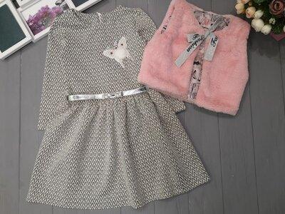 Нарядный комплект для девочки, платье меховая жилетка