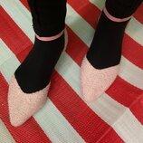 Шикарные твидовые босоножки сандалии в стиле шанель Krush since 1970/цвет пудры
