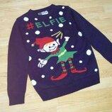Рождественский,новогодний свитер Эльф с бубенцом. Унисекс elfie