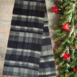 100% шерсть Роскошный мужской шарф кашне черно серый с бахромой