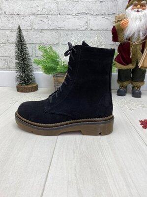 Зимние ботинки, натуральная кожа или замш, черный, красный и визон