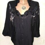 Шикарная черная нарядная кофточка блуза с переливом р.14 44-46-48 пог 52