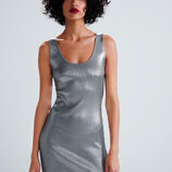 Металик платье Zara в рубчик m-l