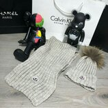 Комплект шапка и шарф Moncler Winter Hat Knitted Pompon and Scarf Sandy