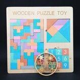 Деревянная головоломка 3 в 1 Тетрис танграм, пятнашки / Тетріс MD 2109