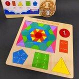 Деревянная головоломка 6 в 1 Геометрические фигуры, дроби, мозаика / Мозаїка MD 2162