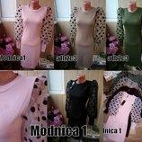 4 цвета ---Женское платье с пышными рукавами в горошек