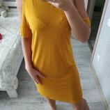 Актуальное желто-горчичное платье миди открытые плечи вискоза