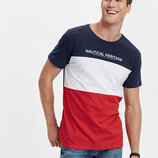 Красно-Синяя мужская футболка LC Waikiki / Лс Вайкики с белой полоской Natural Heritage