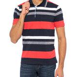 Синее мужское поло LC Waikiki / Лс Вайкики в красно-белую полоску, с карманом на груди
