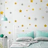Интерьерная наклейка золотые звезды 108х73см