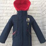 Ветровка на мальчика 2-3 года с красным капюшоном синий Темно-Синий сун