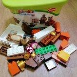 Конструктор маша и миша для малышей мега блок в контейнере