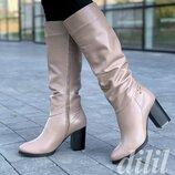 Сапоги женские зимние кожаные бежевые на каблуке