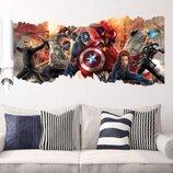 Интерьерная наклейка Мстители 3D 90х50см