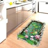 Интерьерная декоративная наклейка на пол Рыбки в пруду 3D 90х60см