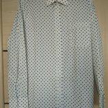 Рубашка белая в горошек р.50-52