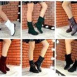 Женские полу сапоги, ботинки Натуральная кожа, замша Зима Деми Разные цвета