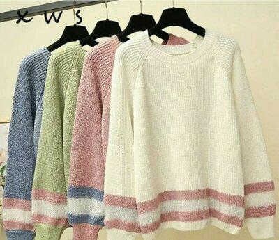 Салатовый в наличии р.42-46 Кофта свитер плюшевый реглан полувер джемпер женский