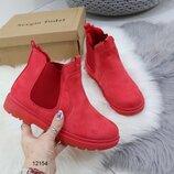 12154 ботинки женские, ботинки зима, ботинки красные