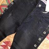 Крутые черные коттоновые джинсы скини