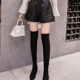 Черные кожаные ,кожа pu , женские шорты с высокой талией
