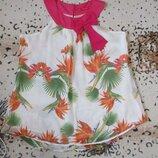 Яркая шифоновая блузочка в цветочный принт с бантом/батал