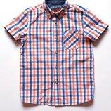Рубашка в клетку с коротким рукавом, р. 134-140