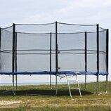 Крепкий спортивный батут 435 см диаметр, с лестницей и внешней сеткой.