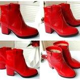 Женские красные ботинки,ботильоны на каблуке-Натуральная кожа,замша Материал,цвет,сезон на выбор