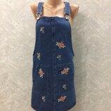 Сарафан джинсовый с вышивкой размер 8-10