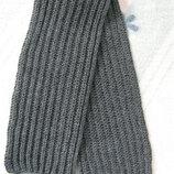 Шарф ручной вязки двухсторонний серый, английская резинка