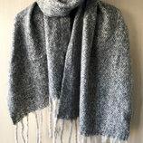 Большой объемный шарф / серый меланж