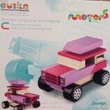 Конструктор с магнитами Деревянная игрушка, деревянный конструктор Машина Кубика
