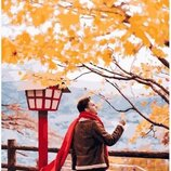 Картина по номерам Красный шарф в осенней Японии PGX25426. Премиум. Картины по номерам.