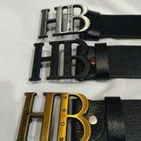 Кожаный ремень в стиле Hugo Boss, Босс, унисекс