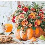 Картина по номерам Натюрморт тыква с розами PGX30479. Премиум. Картины по номерам.