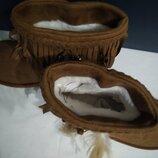 Милинькие низкие новые угги уги с бахромой и перьями
