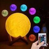 Настольный светильник ночник 3D Moon LIGHT Луна 15 см пульт дистанционный 16 режимов свечения