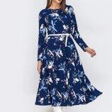 Стильное длинное платье макси трикотажное цветочный принт