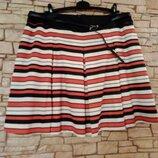 Трикотажная юбка в полоску и глубокую складку,большой размер,батал