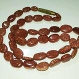 Бусы колье ожерелье натуральный камень авантюрин золотой песок
