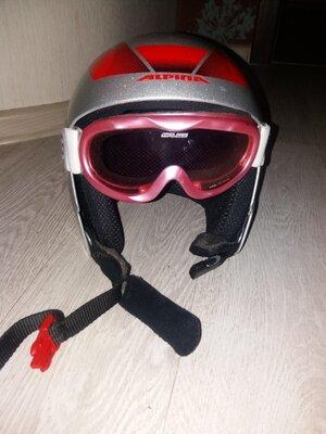 Лыжные очки маска плюс шлем Alpina но голову 55-56см